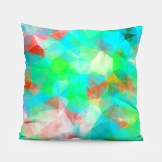 Thumbnail image of geometric triangle pattern abstract background in blue green orange Pillow, Live Heroes