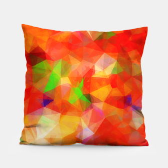 Thumbnail image of geometric triangle pattern abstract background in red orange green Pillow, Live Heroes