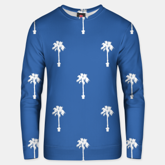 Thumbnail image of Palm silhouettes on blue Unisex sweater, Live Heroes