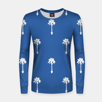 Thumbnail image of Palm silhouettes on blue Women sweater, Live Heroes
