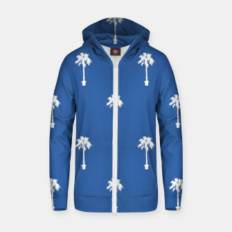 Thumbnail image of Palm silhouettes on blue Zip up hoodie, Live Heroes