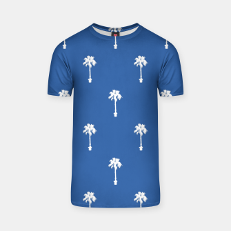 Thumbnail image of Palm silhouettes on blue T-shirt, Live Heroes