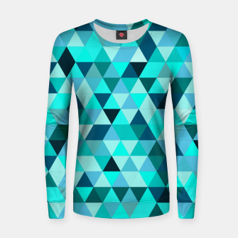 Thumbnail image of Teal Triangles Pattern Women sweater, Live Heroes