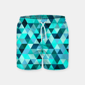 Thumbnail image of Teal Triangles Pattern Swim Shorts, Live Heroes
