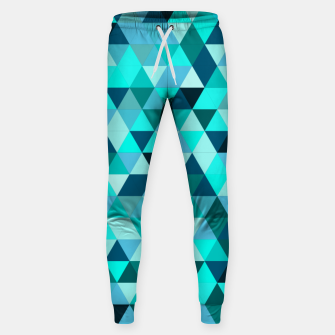 Thumbnail image of Teal Triangles Pattern Sweatpants, Live Heroes