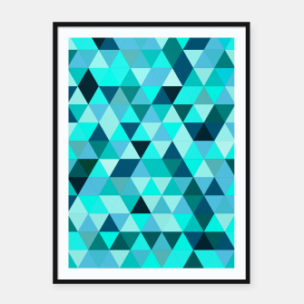 Thumbnail image of Teal Triangles Pattern Framed poster, Live Heroes