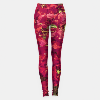 Thumbnail image of Red Flowers Pattern Photo Leggings, Live Heroes