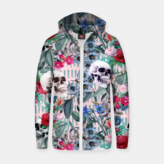 Miniature de image de Flowers and Skulls (Pink) Zip up hoodie, Live Heroes