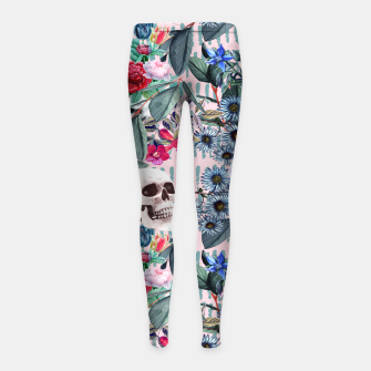 Miniature de image de Flowers and Skulls (Pink) Girl's leggings, Live Heroes