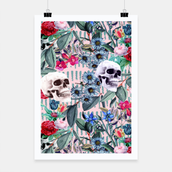 Miniatur Flowers and Skulls (Pink) Poster, Live Heroes