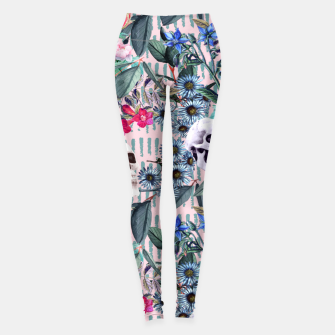 Miniature de image de Flowers and Skulls (Pink) Leggings, Live Heroes