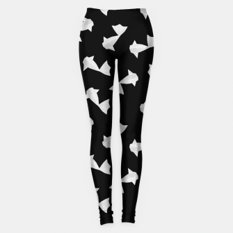 Miniature de image de White Origami Fish Pattern Leggings, Live Heroes