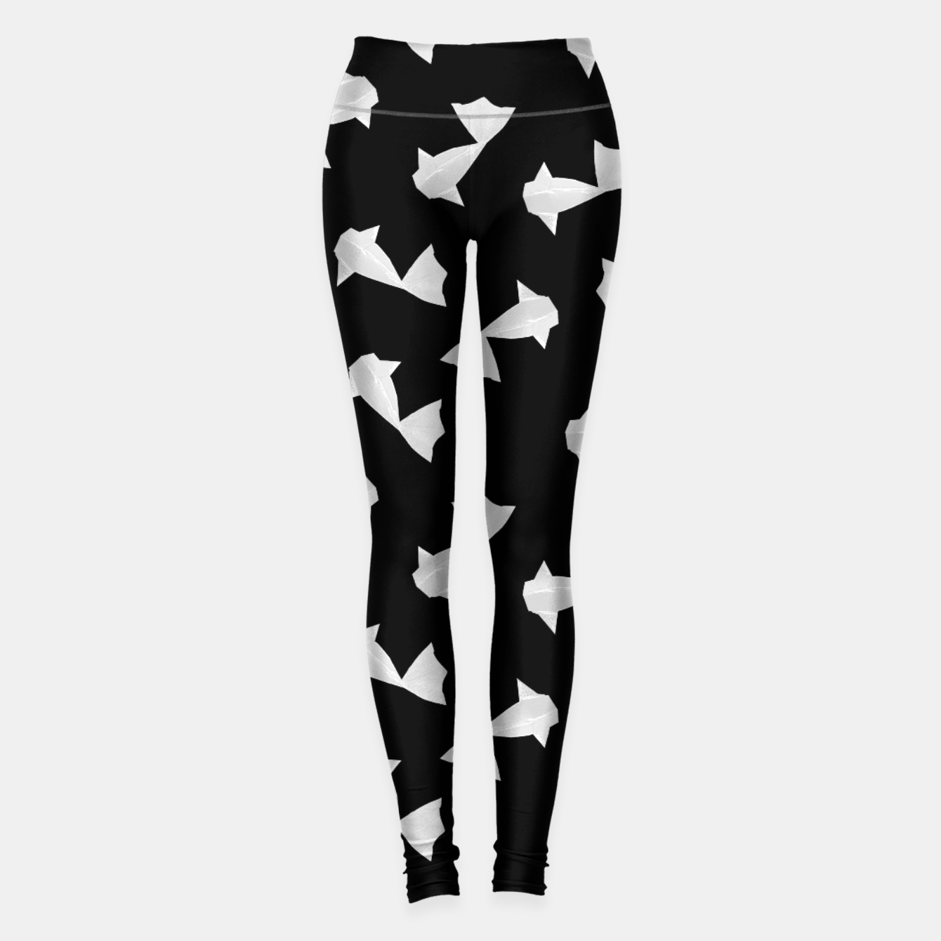 Foto White Origami Fish Pattern Leggings - Live Heroes