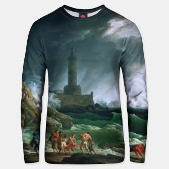 Thumbnail image of A Storm on a Mediterranean Coast by Claude Joseph Vernet Unisex sweater, Live Heroes