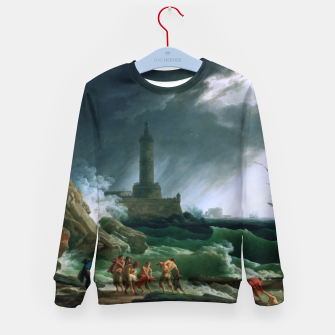 Thumbnail image of A Storm on a Mediterranean Coast by Claude Joseph Vernet Kid's sweater, Live Heroes