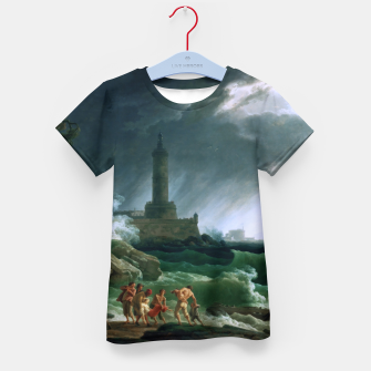 Thumbnail image of A Storm on a Mediterranean Coast by Claude Joseph Vernet Kid's t-shirt, Live Heroes