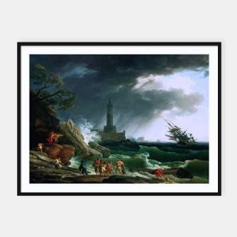 Thumbnail image of A Storm on a Mediterranean Coast by Claude Joseph Vernet Framed poster, Live Heroes