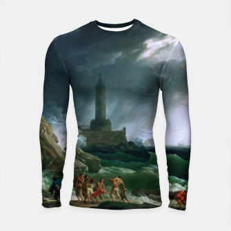 Thumbnail image of A Storm on a Mediterranean Coast by Claude Joseph Vernet Longsleeve rashguard , Live Heroes
