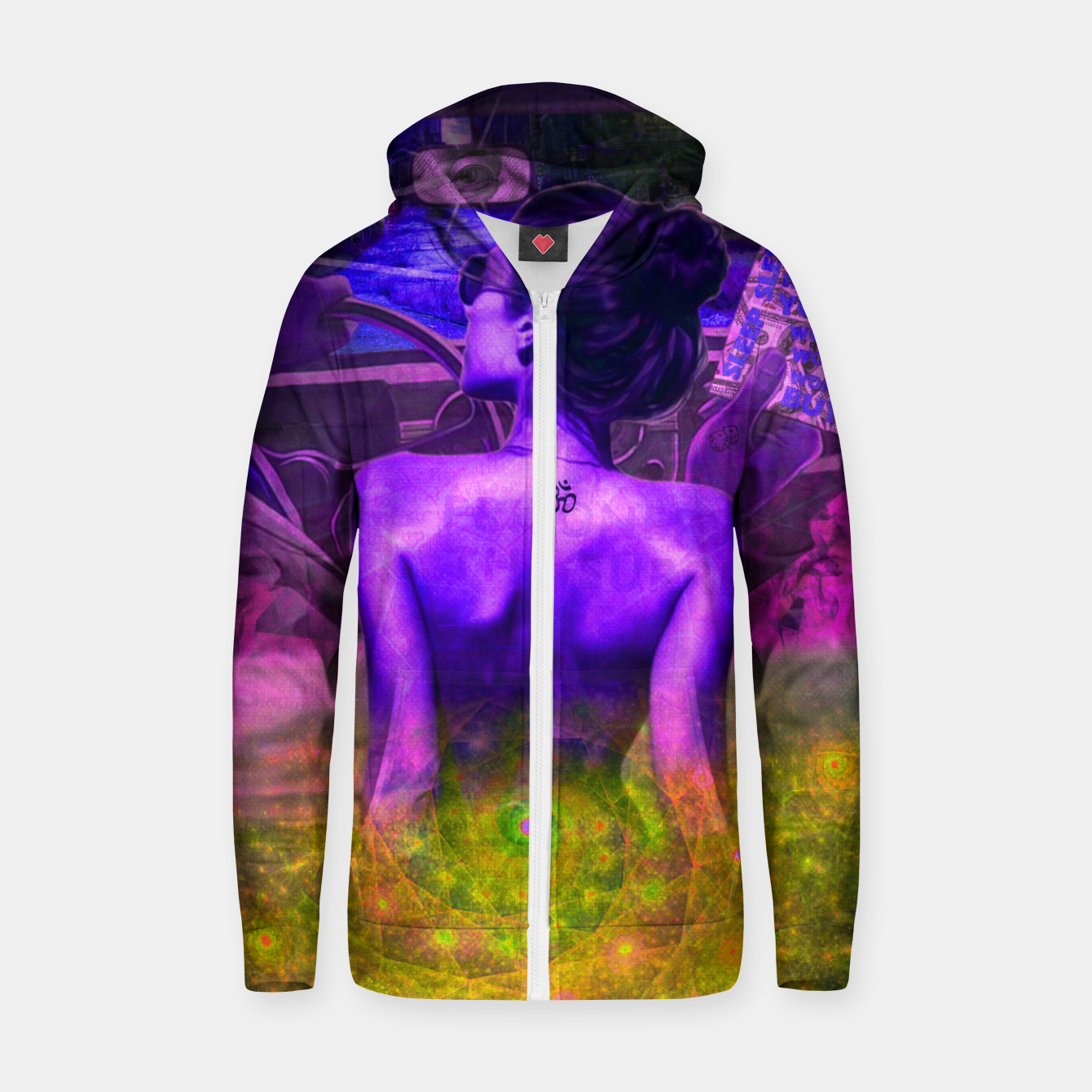 Image of Pink Lady in Space Zip up hoodie - Live Heroes