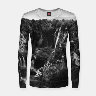 Miniaturka veliki slap waterfall 1 plitvice lakes national park croatia bw vintage Women sweater, Live Heroes