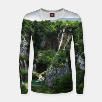 veliki slap waterfall 1 plitvice lakes national park croatia bokeh Women sweater thumbnail image