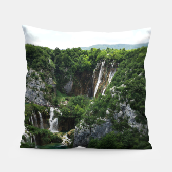 veliki slap waterfall 1 plitvice lakes national park croatia bokeh Pillow thumbnail image