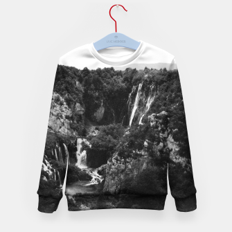 Miniaturka veliki slap waterfall 1 plitvice lakes national park croatia bw vintage Kid's sweater, Live Heroes