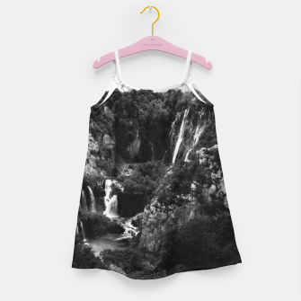Miniaturka veliki slap waterfall 1 plitvice lakes national park croatia bw vintage Girl's dress, Live Heroes