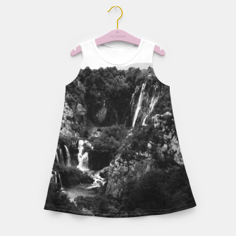 Miniaturka veliki slap waterfall 1 plitvice lakes national park croatia bw vintage Girl's summer dress, Live Heroes