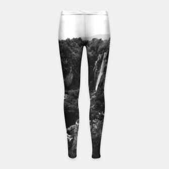 Miniaturka veliki slap waterfall 1 plitvice lakes national park croatia bw vintage Girl's leggings, Live Heroes
