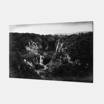 Miniaturka veliki slap waterfall 1 plitvice lakes national park croatia bw vintage Canvas, Live Heroes