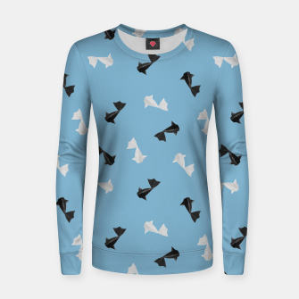Thumbnail image of Black and White Origami Fish Pattern Frauen sweatshirt, Live Heroes