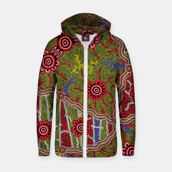Thumbnail image of Connections - Authentic Aboriginal Art Zip up hoodie, Live Heroes