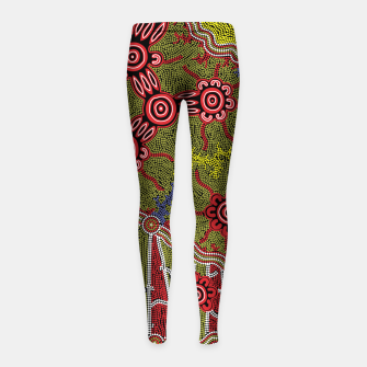 Thumbnail image of Connections - Authentic Aboriginal Art Girl's leggings, Live Heroes
