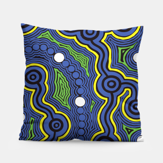 Meeting Places - Authentic Aboriginal Art Pillow thumbnail image