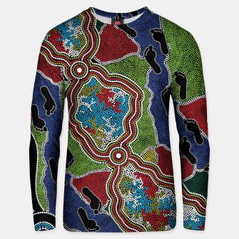 Thumbnail image of Walking the Land - Authentic Aboriginal Art Unisex sweater, Live Heroes