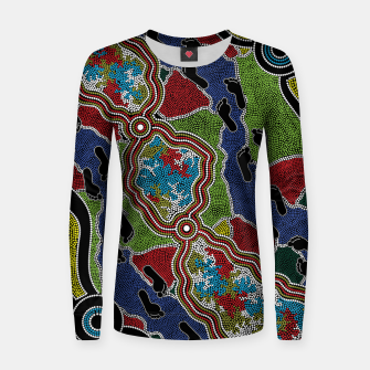 Thumbnail image of Walking the Land - Authentic Aboriginal Art Women sweater, Live Heroes