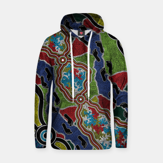 Thumbnail image of Walking the Land - Authentic Aboriginal Art Hoodie, Live Heroes