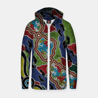 Thumbnail image of Walking the Land - Authentic Aboriginal Art Zip up hoodie, Live Heroes