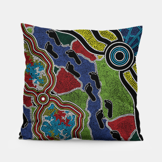 Thumbnail image of Walking the Land - Authentic Aboriginal Art Pillow, Live Heroes