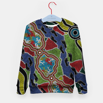 Thumbnail image of Walking the Land - Authentic Aboriginal Art Kid's sweater, Live Heroes