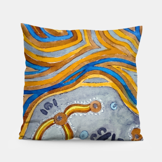 Lines - Authentic Aboriginal Art Pillow thumbnail image