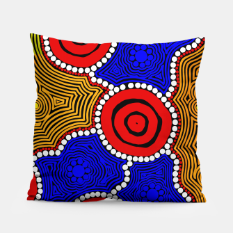 Circles and Dots - Authentic Aboriginal Art Pillow thumbnail image