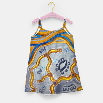 Lines - Authentic Aboriginal Art Girl's dress thumbnail image