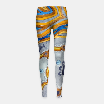 Thumbnail image of Lines - Authentic Aboriginal Art Girl's leggings, Live Heroes