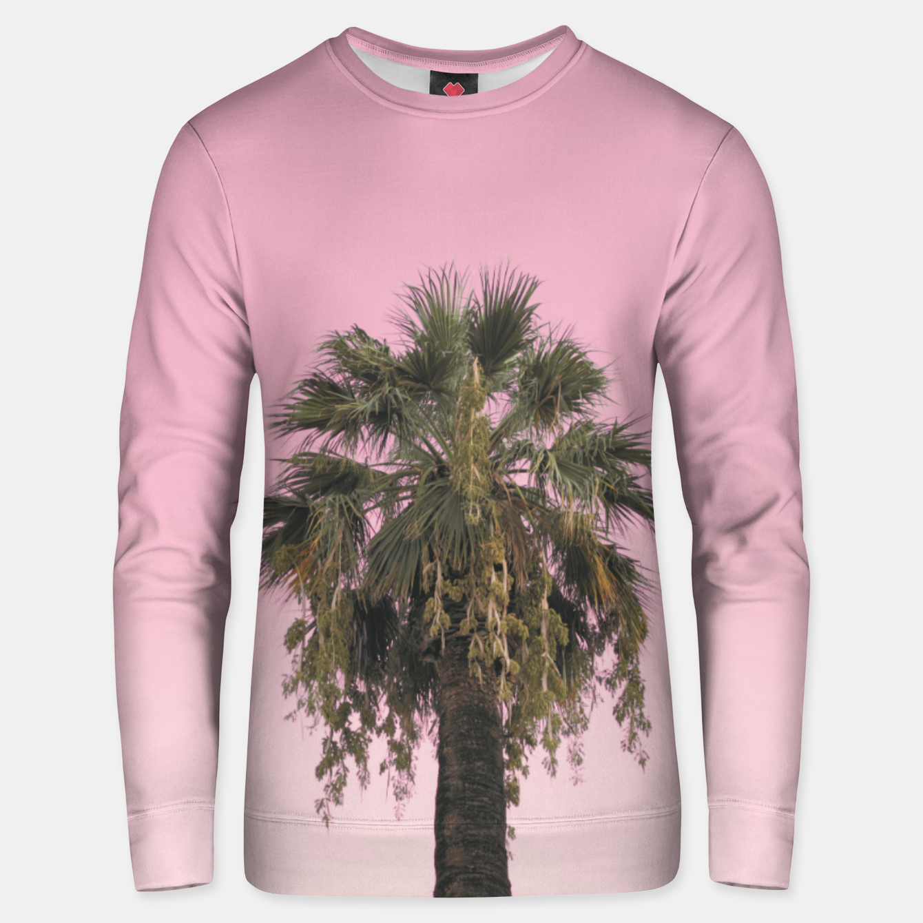 Image of Palm tree and pink sky Unisex sweater - Live Heroes