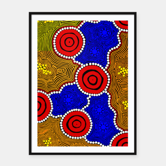 Thumbnail image of Circles and Dots - Authentic Aboriginal Art Framed poster, Live Heroes