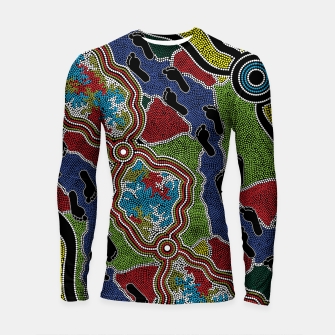 Thumbnail image of Walking the Land - Authentic Aboriginal Art Longsleeve rashguard , Live Heroes