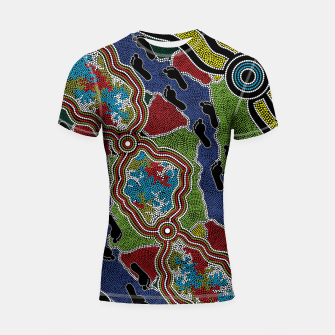 Thumbnail image of Walking the Land - Authentic Aboriginal Art Shortsleeve rashguard, Live Heroes