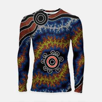 Thumbnail image of The Heart of Fire - Authentic Aboriginal Art Longsleeve rashguard , Live Heroes